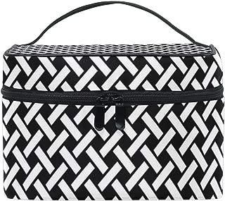 MALPLENA Black And White Basket Print makeup bag and cases Cosmetic Bags