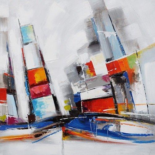 Tableau Abstrait City Carré, Dimensions 60/60 Cm, Peinture Abstraite À l'huile Montée sur Un Châssis en Bois, Tableau Signé. Tableau City Peint À La Main. Aucun Travail d'impression.