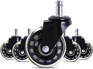 zwenkwielen met rem, Caster Wheels Set van 4 Casters 5 stks Black Office Stoel Caster Wielen 2.5 Inch Swivel Rubberen Cast...
