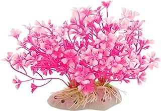 Jardin Plastic Aquatic Dwarf Plant Ornament for Aquarium, Hot Pink/White
