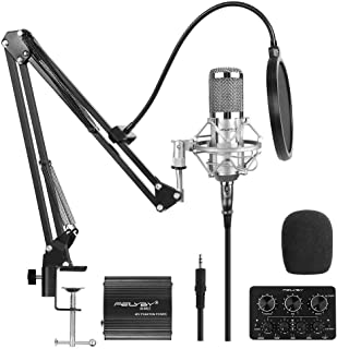 Professional Studio Broadcasting and Recording Capacitor Condenser Microphone Set(Silver)…