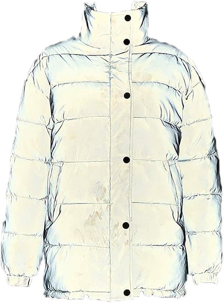 Kewing Chaqueta Acolchada de algodón Reflectante para Mujer, Abrigo Acolchado de Invierno con Abrigo
