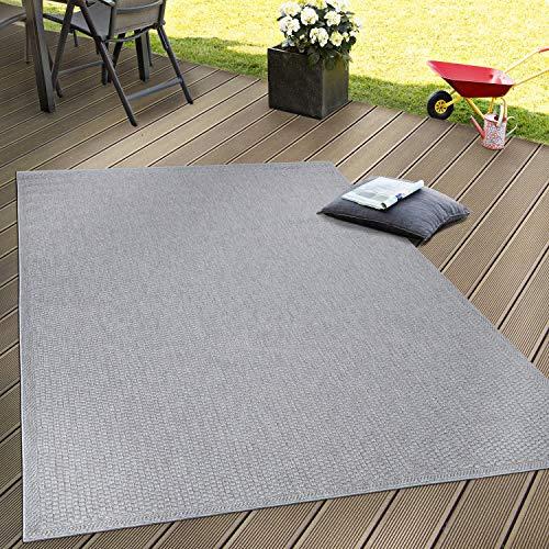Paco Home Tappeto Tessitura Piatta Esterno E Interno Tappeti Terrazze Look Naturale Grigio, Dimensione:200x280 cm