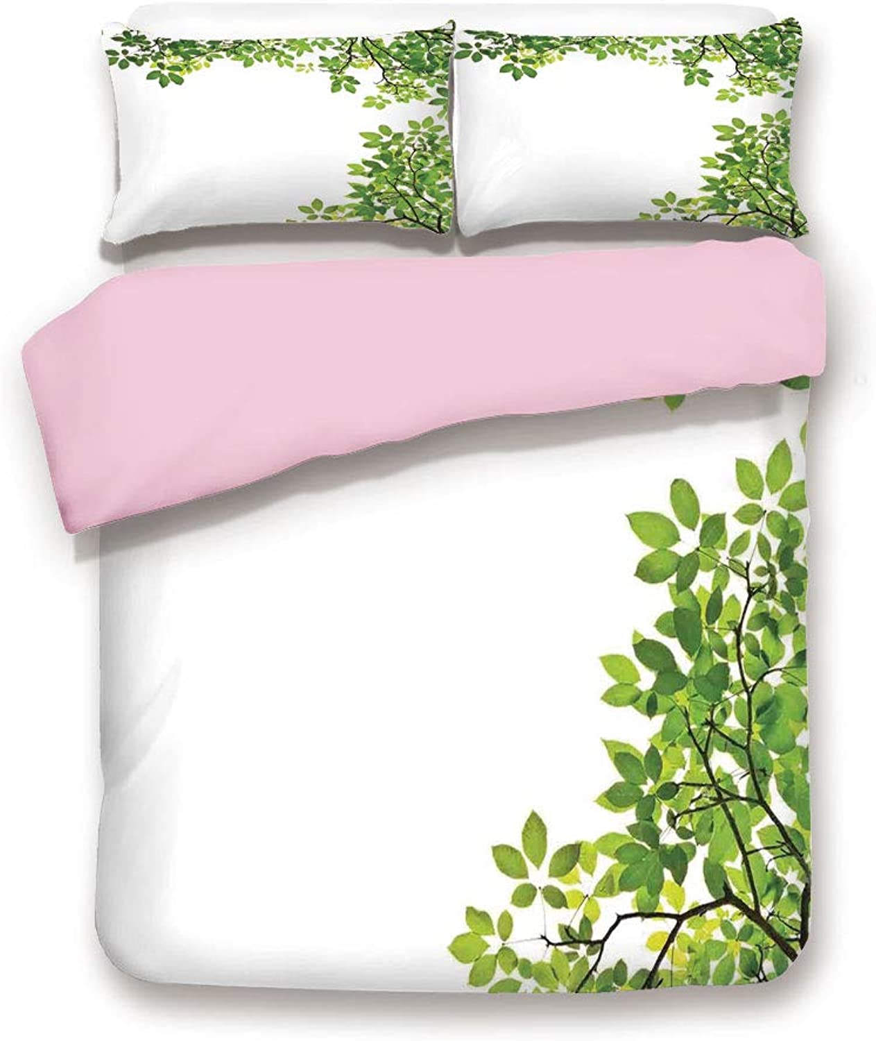 Pink Duvet Cover Set,Twin Size,Broad Leaves Close up Background Garden Organic Foliage Shrubs Cells Plant Image,Decorative 3 Piece Bedding Set with 2 Pillow Sham,Best Gift for Girls Women,Green White