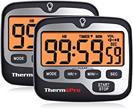 ThermoPro TM01 (2 pack) Digital Kitchen Timer with Touchable Backlit and Count up Countdown Timer Loud Ring Magnetic Class...