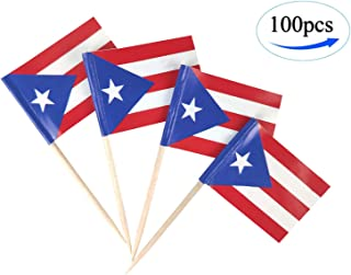 JBCD Puerto Rico Flag Puerto Rican Flags,100 Pcs Cupcake Toppers Flag, Country Toothpick Flag,Small Mini Stick Flags Picks Party Decoration Celebration Cocktail Food Bar Cake Flags