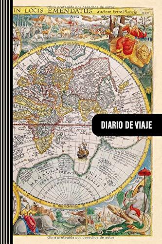Diario de Viaje: Mapa Mundi Historico Libro de Registro de Viajes - Cuaderno de Recuerdos de Actividades en Vacaciones para Escribir, Dibujar - Cuadrícula de Puntos, Dotted Notebook Journal A5
