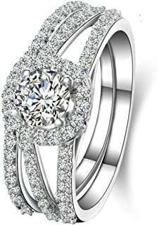 Engagement Rings for Women 925 Sterling Silver Hollow Pattern Under Round White Cz Inlaid Sz 5-11