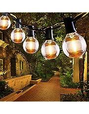 Qxmcov LED Outdoor String Lights, 9,5 meter, 31 voet Tuin Patio Buiten Globe String Lights met 25 stuks lampen, waterdichte Fairy String Lights voor achtertuin Patio Cafe Tuin Party Bruiloft Decoratie