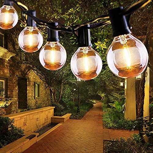 Guirnaldas Luces Exterior, QXMCOV Guirnaldas Luminosas 6.8M 16+2 Bombillas G40 de Guirnalda Luz Interior, Impermeable Cadena Luces Decoracion para Habitación, Jardín, Bodas, Terraza, Césped, Balcón