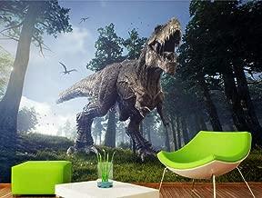 HandPiao Papel Tapiz Fotográfico 3D Papel De Pared Murales 3D Tyrannosaurus Rex Dinosaurio Flying Bird Bosque Papeles Pintados Fotomurales para Dormitorio Sala De Estar Oficina (W) 200X(H) 140Cm