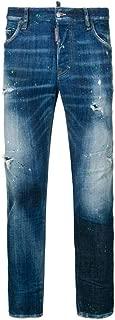 Mens Acid Green Spots Wash Cool Guy Jeans in Blue