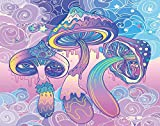 Y·JIANG Psychedelic Trippy Paint by Numbers, Magic Mushrooms Hallucination Acid Trip DIY Canvas Acrylic Oil Painting by Numbers for Adults Kids Home Wall Decor, 16 x 16 Inches