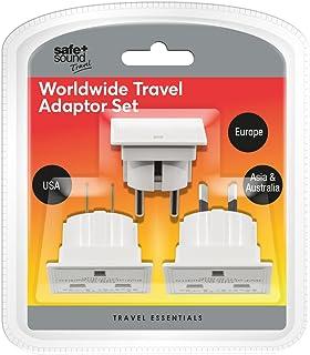 Safe and Sound Worldwide Travel Adaptor Set - Three Single Socket Adaptors (Full List of Countries Below)