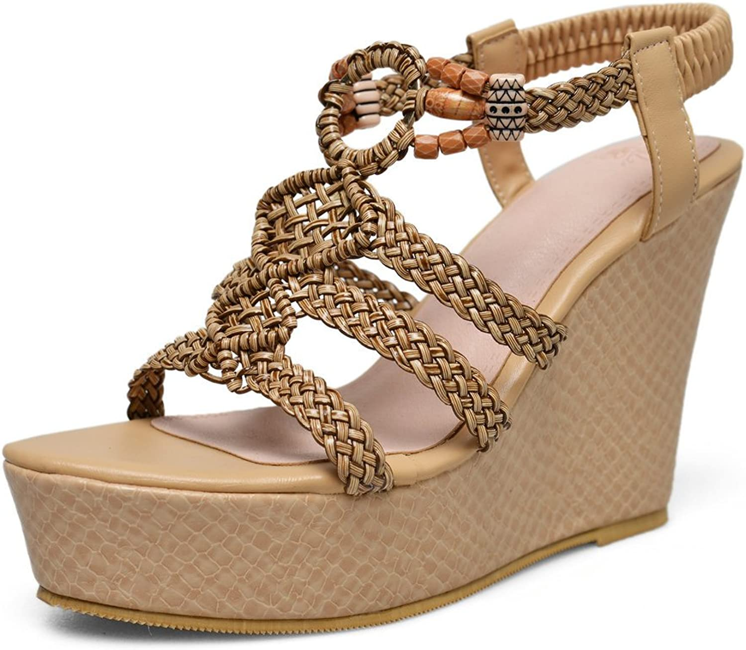 AnMengXinLing Wedge Sandals Women Platform T-Strap High Heel Leather Ankle Strap Open Toe Bohemia Casual shoes