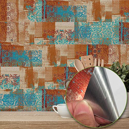 Cutfouwe Schälen Und Stick Fliesen Aufkantung Für Küchen-Wand-Dekor Aluminium Oberfläche Metall-Mosaik-Fliesen-Aufkleber, U-Imitation Rust Klassik,B,20 * 10cm * 9pcs