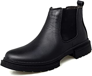ZhaoXin Chen Chelsea Boots for Men Casual Shoes Round Toe Pull on Genuine Leather Solid Color Soft Lining Elastic Short Tube Anti-Slip Keep Warm (Color : Black, Size : 6 UK)