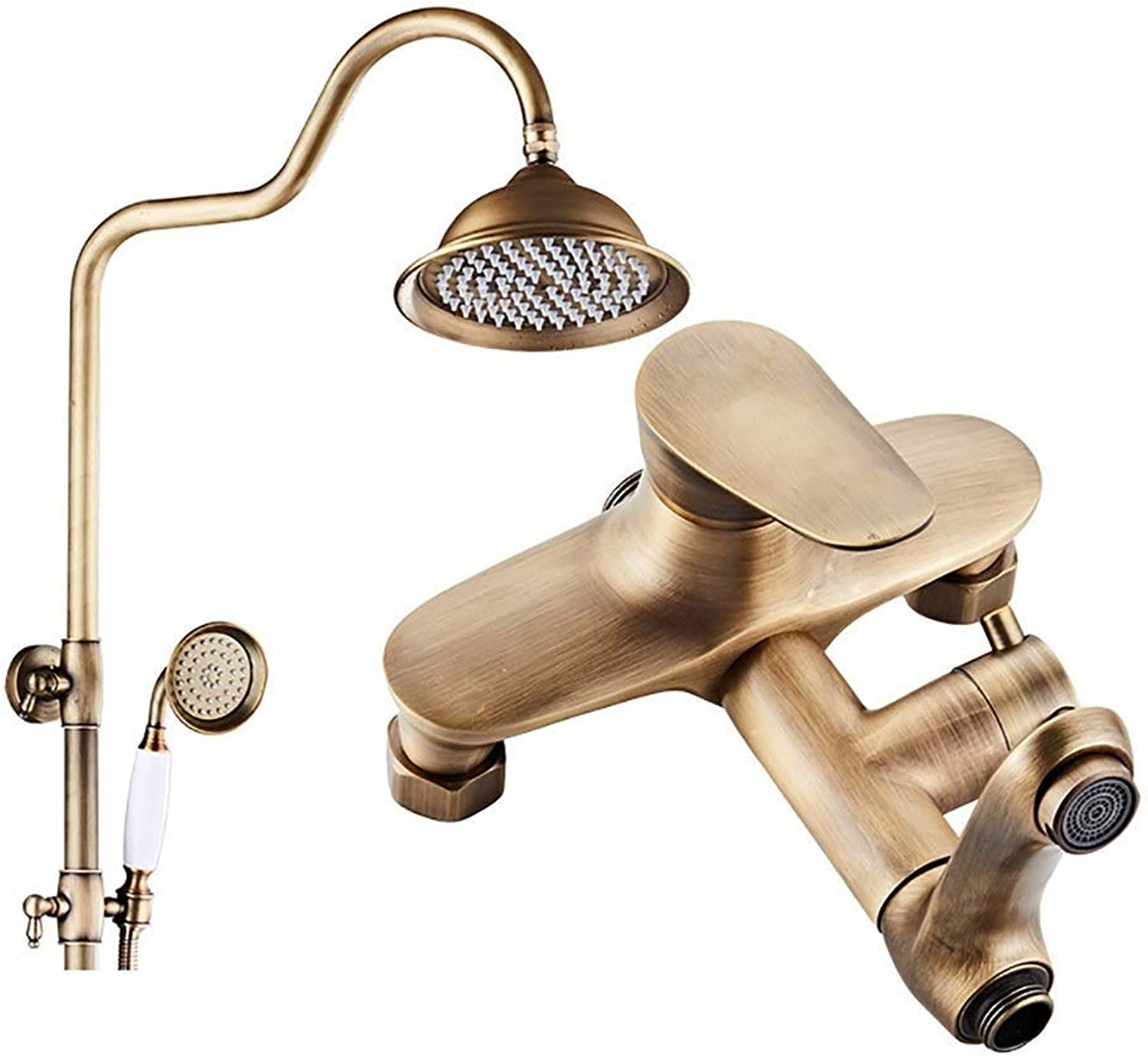 Retro Brass Waterfall Exposed Shower Kit Full Copper Shower Set, Wall-mounted shower poles extendable Bathroom redating Cold hot Water Tap (color   Brass, Size   B)