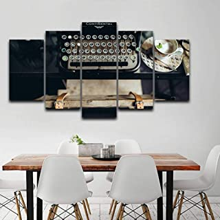 SHUII Canvas Painting Wall Art 5 Pieces Vintage Typewriter Pictures Home Decoration Living Room Modular HD Printed Poster Framework Framed 40x60cm 40x80cm 40x100cm