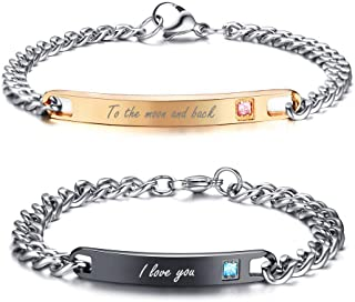 MEALGUET His and Hers King and Queen Love Quotes Engraved Stainless Steel Matching Couple Bracelets Set Anniversary Promise