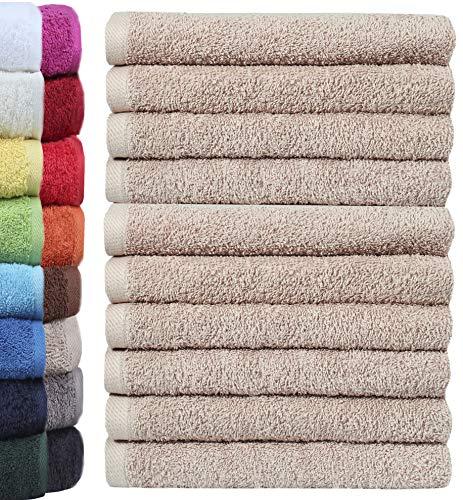 NatureMark 10er Pack Waschlappen   100% Baumwolle   Frottier Seiflappen   Größe 30 x 30 cm   Frottee Seiftücher im 10er Pack Farbe: Sand/Beige