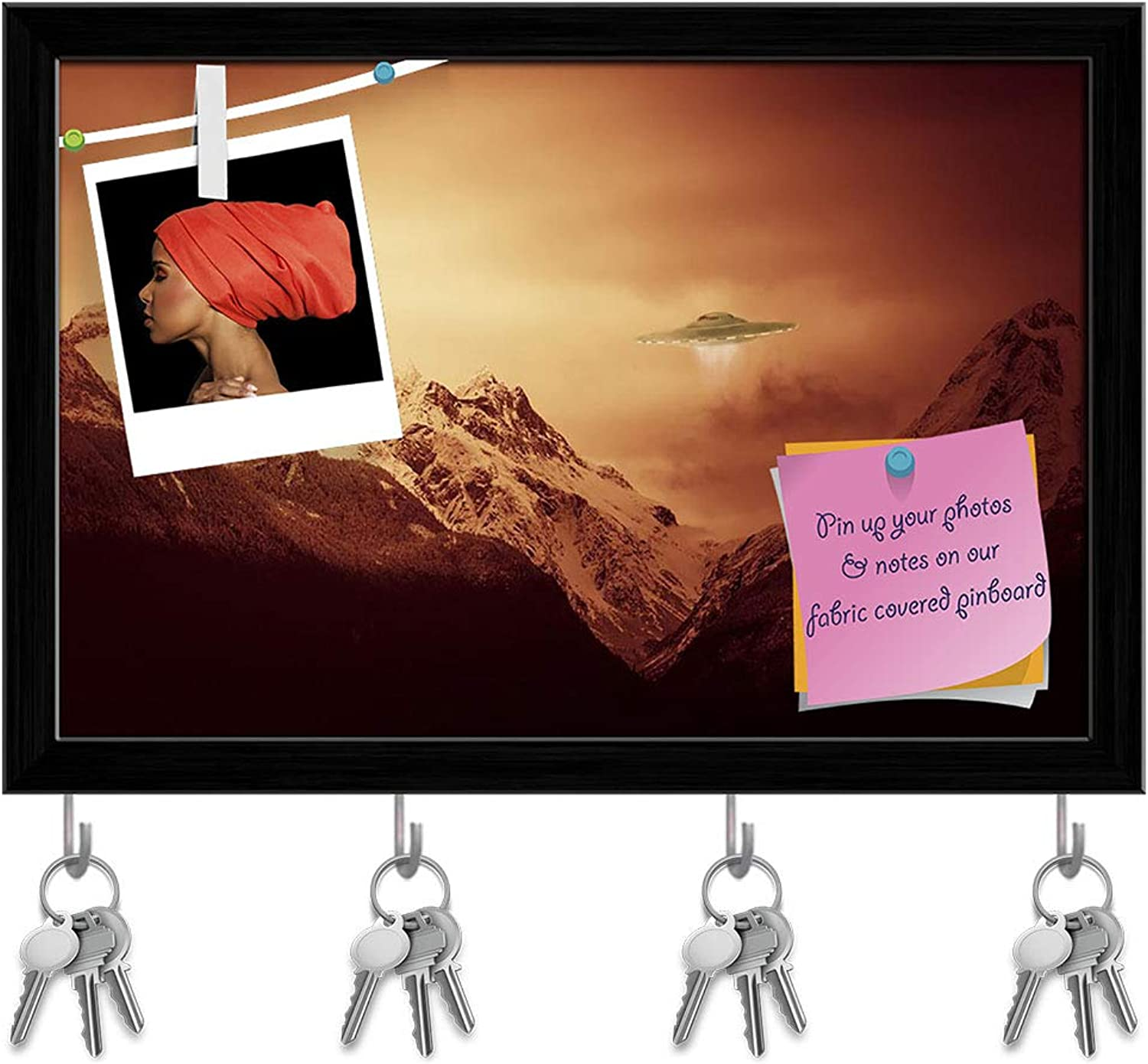 Artzfolio UFO Hovering Over Snow Covered Mountains Key Holder Hooks   Notice Pin Board   Black Frame 8.6 X 6Inch