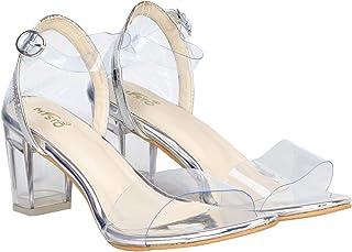 Misto VagonWomen and Girls Casual Transparent Block Heel Sandals in Transparent Upper