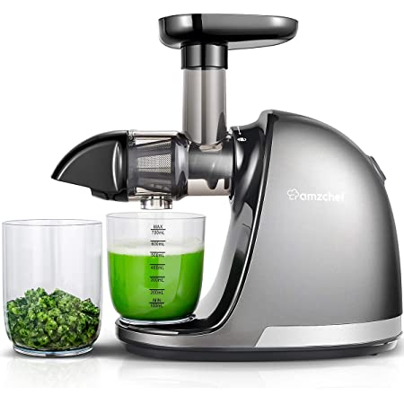 Slow Masticating Juicer, AMZCHEF Slow Juicer Extractor Professional Machine, Cold Press Juicer with Quiet Motor/Reverse Function, Juicer Machines with Brush, for High Nutrient Fruit & Vegetable Juice