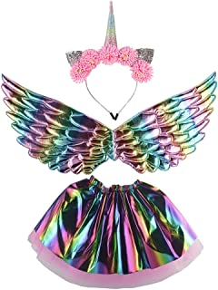 OCSOSO Costume for Girls Dress Up Clothes for Little Kids Wings Tutu Skirt with Headband Birthday Party