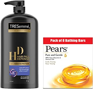 TRESemme Hair Fall Defence Shampoo, 1000 ml with Pears Pure and Gentle Bathing Bar, 125 g (Pack of 8)