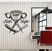 Smydp Barber Shop Sign Vinyl Wall Decal Barbershop Scissors Hair Style Stylist Hairdresser Window Stickers Mural Wall Decor 56X60Cm