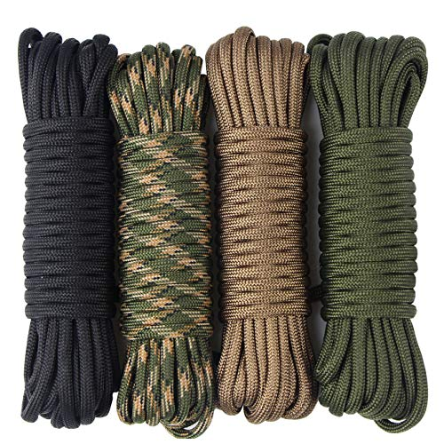 aufodara 4 Pieces 19ft / 6Meter Paracord Cords 550 Multifunction Paracord Rope Crafting Bracelet Braided Rope Lanyards Dog Collar DIY Crafting (D4-A)