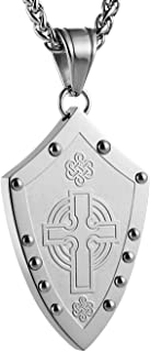 Men's Warriors Medieval Shield Celtic Knot Irish Cross Stainless Steel Pendant Necklace Silver/Gold