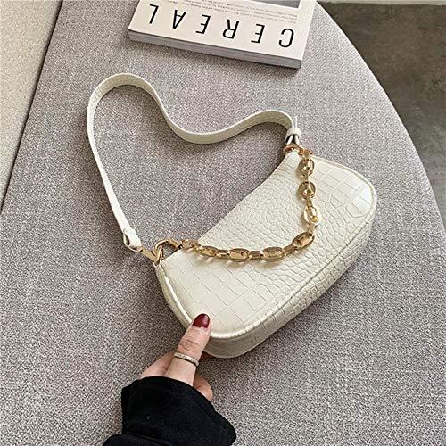ABO Patrón de Cocodrilo Baguette bolsos Mini de Cuero de la PU Bolsas de Hombro Para las Mujeres de la Cadena Bolsa de Mano Mujer de Viaje, poliuretano, Style1-blanco, 21cm x 11cm x 5cm