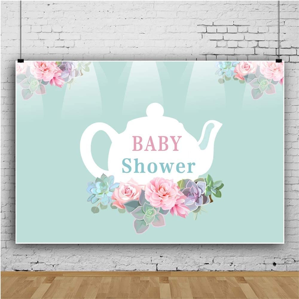 DORCEV Polyester 6x5ft Baby Shower Backdrop Flower Theme Baby Shower Background Colorful Flowers Teapot Baby Shower Party Cake Table Banner Kids Baby Shower Photo Studio Props