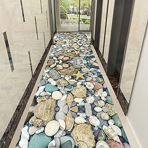 DAGONGJI 3D Kopfsteinpflasterweg Teppich, Antifouling-Staub, verringern Geräusche Point Kunststoff rutschfeste Rückseite Flurläufer Teppich, Treppe nach Hause Wohnzimmer