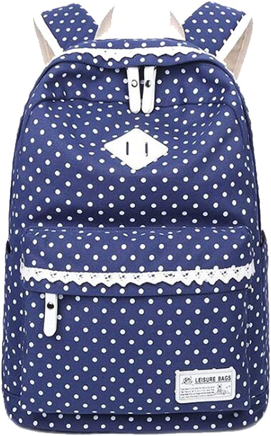Women's Version Of The Backpack Wave Point Middle School Student Bag Leisure Travel Canvas Shoulder Bag (color   Navy blueee, Size   30  16.5  42cm)