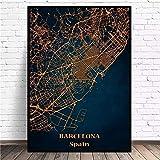 XKLDP Póster de Mapa de Barcelona, Arte de Pared, Pintura en Lienzo de Ciudad, imágenes Impresas, decoración para Sala de Estar, 50x70cmx1 Uds, Sin Marco
