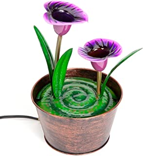 Bits and Pieces - Indoor Purple Calla Lily Fountain - Zen Tabletop Water Fountain