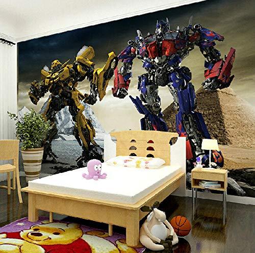 MGQSS 3D Wandbild selbstklebende Tapete Stereo Cartoon Roboter 3D Kinderzimmer Tapete Poster Fototapete Junge Mädchen Schlafzimmer Raumdekoration Umweltschutz(B)200x(H)150 cm