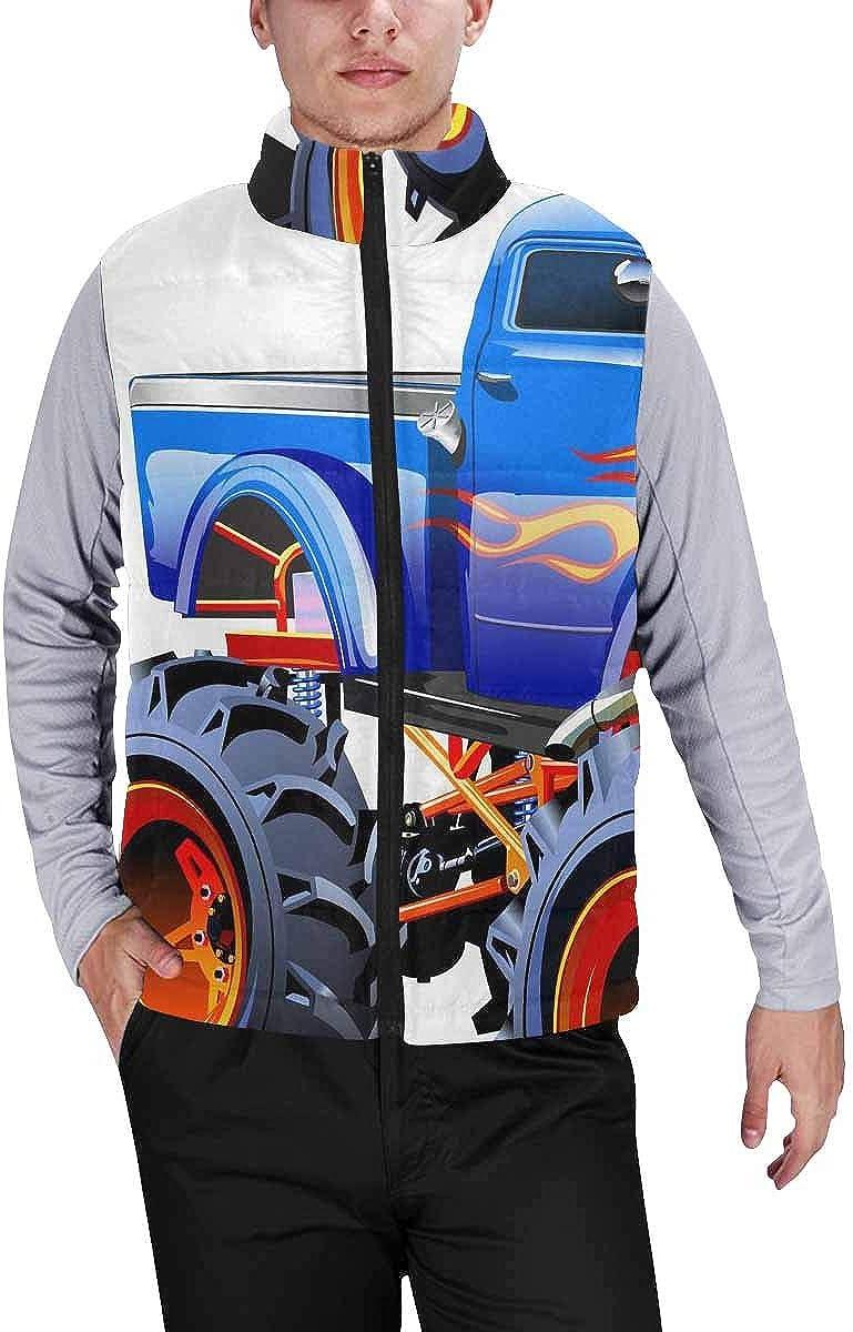 InterestPrint Men's Full-Zip Padded Vest Jacket for Outdoor Activities Cartoon Monster Truck L