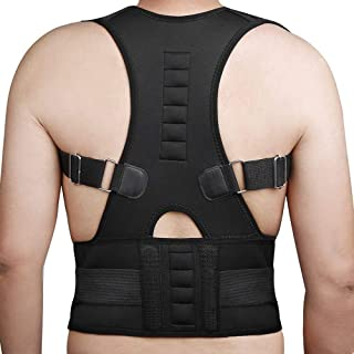 Magnetic Back Support for Posture Corrector with 10 Magnets and Adjustable Straps and Breathable Mesh Panels (Black, XL)