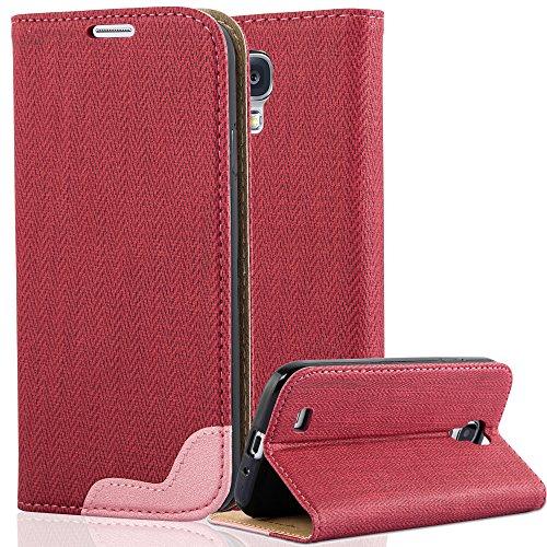 Cadorabo Samsung Galaxy S4 Funda de Cuero Sintético Rafia en Pinky Rojo Cubierta Protectora Estilo Libro con Cierre Magnético, Tarjetero y Función de Suporte Etui Case Cover Carcasa Protección Caja