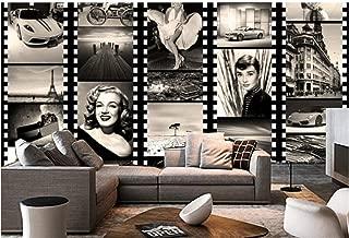 YYNIGHT-Wholesale Large Vintage Custom Black White Figure Marilyn Monroe 3D Photo Mural Wallpaper for Coffee Bar Living Room 3D Fresco-300cmx240cm