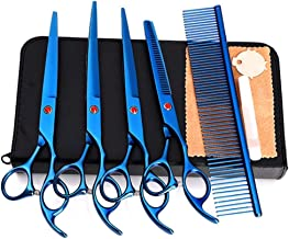 Professional Barber up and Down Curling Shears Set Hair Cutting Scissors,Shears Scissors pet 7-inch Scissors Professional-Straight Cut Shears Scissors (Color : Blue)