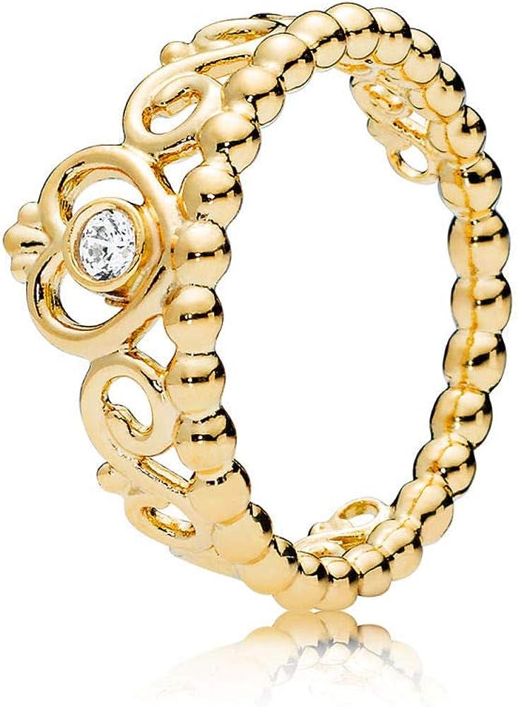 Pandora Jewelry Princess Tiara Crown Cubic Zirconia Ring in Pandora Rose