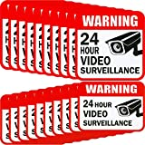Tatuo 20 Pieces Video Surveillance Sticker Sign Decal 2 Size for Home Business Camera Alarm System Stickers, 5 x 5 Inches and 3 x 4 Inches Adhesive 24 Hours Security Warning Signs