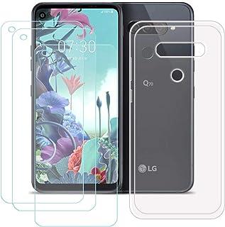 YZKJ Fodral för LG Q70 Cover hållbar silikon skyddande skydd TPU skal fodral 3 stycken pansarglas skärmskydd för LG Q70 (...