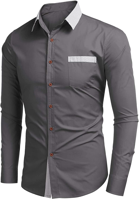CofeeMO Bravetoshop Men's Business Dress Shirt Long Sleeve Casual Fashion Slim Fit Button Down Shirt