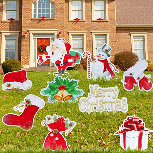 WayJaneDTP 9Pcs Christmas Yard Sign Set with Stakes 15.7' Christmas Holiday Lawn Yard Outdoor Decorations